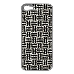 Woven1 Black Marble & Silver Foil Apple Iphone 5 Case (silver)