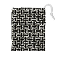 Woven1 Black Marble & Silver Foil Drawstring Pouches (extra Large)