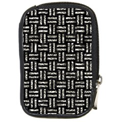 Woven1 Black Marble & Silver Foil (r) Compact Camera Cases