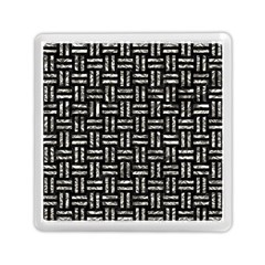 Woven1 Black Marble & Silver Foil (r) Memory Card Reader (square)