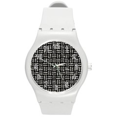 Woven1 Black Marble & Silver Foil (r) Round Plastic Sport Watch (m)