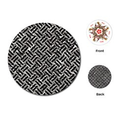 Woven2 Black Marble & Silver Foil Playing Cards (round)