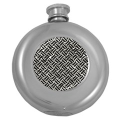 Woven2 Black Marble & Silver Foil Round Hip Flask (5 Oz)