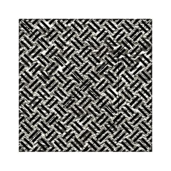 Woven2 Black Marble & Silver Foil Acrylic Tangram Puzzle (6  X 6 )