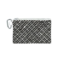Woven2 Black Marble & Silver Foil Canvas Cosmetic Bag (s)