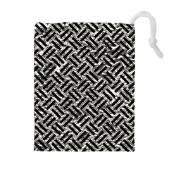 Woven2 Black Marble & Silver Foil Drawstring Pouches (extra Large)