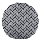 BRICK2 BLACK MARBLE & SILVER GLITTER Large 18  Premium Flano Round Cushions Front