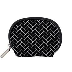 Brick2 Black Marble & Silver Glitter (r) Accessory Pouches (small)