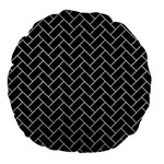 BRICK2 BLACK MARBLE & SILVER GLITTER (R) Large 18  Premium Flano Round Cushions Front