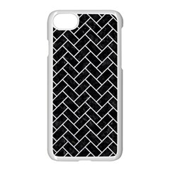 Brick2 Black Marble & Silver Glitter (r) Apple Iphone 8 Seamless Case (white)