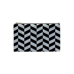 Chevron1 Black Marble & Silver Glitter Cosmetic Bag (small)