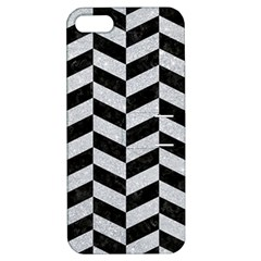 Chevron1 Black Marble & Silver Glitter Apple Iphone 5 Hardshell Case With Stand