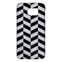 Chevron1 Black Marble & Silver Glitter Galaxy S6