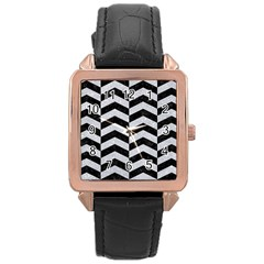 Chevron2 Black Marble & Silver Glitter Rose Gold Leather Watch