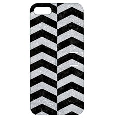 Chevron2 Black Marble & Silver Glitter Apple Iphone 5 Hardshell Case With Stand