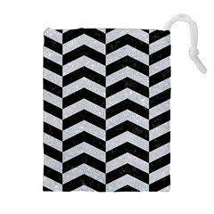 Chevron2 Black Marble & Silver Glitter Drawstring Pouches (extra Large)