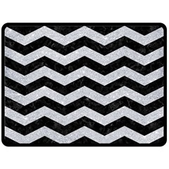 Chevron3 Black Marble & Silver Glitter Fleece Blanket (large)