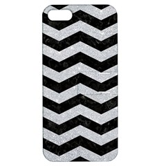 Chevron3 Black Marble & Silver Glitter Apple Iphone 5 Hardshell Case With Stand