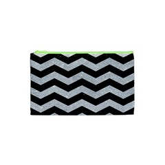 Chevron3 Black Marble & Silver Glitter Cosmetic Bag (xs)