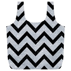 Chevron9 Black Marble & Silver Glitter Full Print Recycle Bags (l)