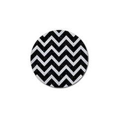 Chevron9 Black Marble & Silver Glitter (r) Golf Ball Marker (4 Pack)