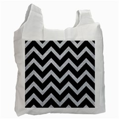 Chevron9 Black Marble & Silver Glitter (r) Recycle Bag (one Side)
