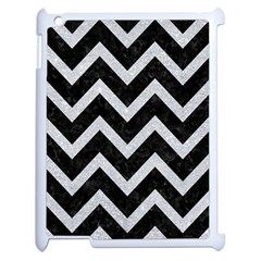Chevron9 Black Marble & Silver Glitter (r) Apple Ipad 2 Case (white)