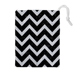 Chevron9 Black Marble & Silver Glitter (r) Drawstring Pouches (extra Large)