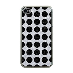 Circles1 Black Marble & Silver Glitter Apple Iphone 4 Case (clear)