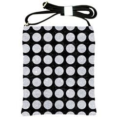 Circles1 Black Marble & Silver Glitter (r) Shoulder Sling Bags