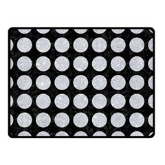Circles1 Black Marble & Silver Glitter (r) Double Sided Fleece Blanket (small)
