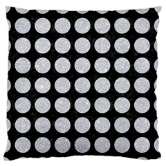 Circles1 Black Marble & Silver Glitter (r) Large Flano Cushion Case (two Sides)