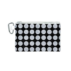 Circles1 Black Marble & Silver Glitter (r) Canvas Cosmetic Bag (s)