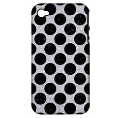 Circles2 Black Marble & Silver Glitter Apple Iphone 4/4s Hardshell Case (pc+silicone)
