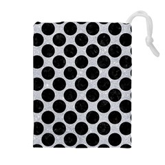 Circles2 Black Marble & Silver Glitter Drawstring Pouches (extra Large)