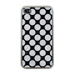 Circles2 Black Marble & Silver Glitter (r) Apple Iphone 4 Case (clear)
