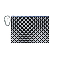 Circles3 Black Marble & Silver Glitter Canvas Cosmetic Bag (m)