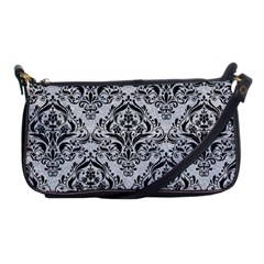 Damask1 Black Marble & Silver Glitter Shoulder Clutch Bags