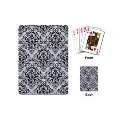 Damask1 Black Marble & Silver Glitter Playing Cards (mini)