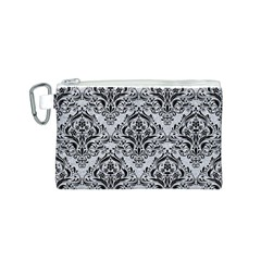 Damask1 Black Marble & Silver Glitter Canvas Cosmetic Bag (s)