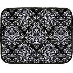 Damask1 Black Marble & Silver Glitter (r) Double Sided Fleece Blanket (mini)