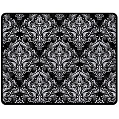 Damask1 Black Marble & Silver Glitter (r) Fleece Blanket (medium)