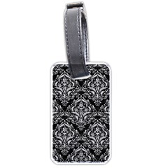 Damask1 Black Marble & Silver Glitter (r) Luggage Tags (two Sides)