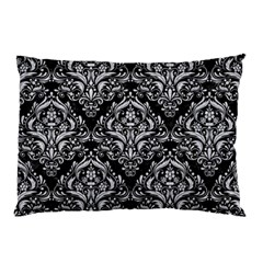 Damask1 Black Marble & Silver Glitter (r) Pillow Case (two Sides)