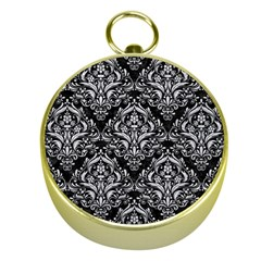 Damask1 Black Marble & Silver Glitter (r) Gold Compasses