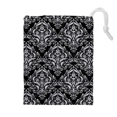 Damask1 Black Marble & Silver Glitter (r) Drawstring Pouches (extra Large)