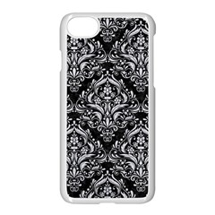 Damask1 Black Marble & Silver Glitter (r) Apple Iphone 8 Seamless Case (white)
