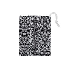 Damask2 Black Marble & Silver Glitter Drawstring Pouches (small)