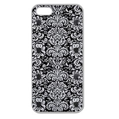 Damask2 Black Marble & Silver Glitter (r) Apple Seamless Iphone 5 Case (clear)