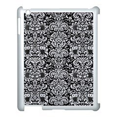 Damask2 Black Marble & Silver Glitter (r) Apple Ipad 3/4 Case (white)